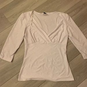 3/$25 White blouse with faux wrap front